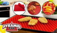 Wholesale PYRAMID PAN BBQ Grill Mat Barbecue Baking Liners Reusable Teflon Cooking Sheets cm Cooking Tool