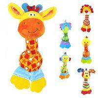 bb monkey - Soft Baby Toy cm Cartoon Animal Teether Rattle Squeaker BB Sounder Early Educational Doll Elephant Giraffe Lion Monkey Dog