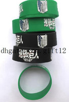 Wholesale mix Popular Attack on Titan Wristband Silicone Promotion Gift Filled In Color Bracelet