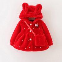 baby girl windbreaker - Baby Kids Clothing Outwear girls coat winter Faux Fur Hooded long sleeve Red coats jacket Children s jackets windbreaker