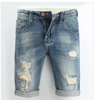 Mademoiselle déchirée France-Summer Casual Men Jeans Shorts Hole Haute Qualité Fashion Knee Length Ripped Jean For Men Brand Pantalons Shorts