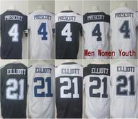 Wholesale Dak Prescott Ezekiel Elliott Blue White Stitched Jerseys embroidery logo Mix Order