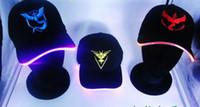 baseball battery - Pikachu Caps VALOR INSTINC MYSTIC Team Hat Adjustable Snapbacks Hats CR2032 Battery Adult Baseball Caps Fashion Hats LED Flash