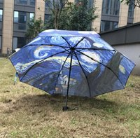 Wholesale Vincent Van Gogh Starry Night sun rain Umbrella Fold Anti UV fashion hot selling abstract art