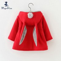 Wholesale 2017 Fashion Baby Girls Jackets Cotton Rabbit Hooded Coat Vintage Toddler Clothes Fur Ball Spring Kids Clothing Children Outwear Outfit B001