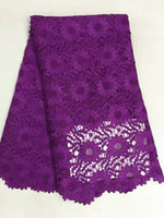 african fabric designs - 5 Yards pc Beautiful purple flower design mesh cord lace african guipure lace fabric french water soluble lace for clothes RW1