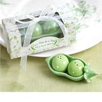 beans peas - Bean ceramic salt and pepper shakers wedding favors gifts peas salt pepper shakers Two peas in a pod WA1785