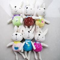 achat en gros de peluche lapin poupée-Cute Peluche Lapin Bunny Stuffed Cartoon Animaux Jouets Animaux foulard foulard foulards Cadeaux de poupées de décorations de Noël