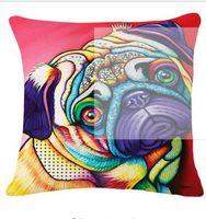 Bulldog francés Cojín de perros Pug Bull Terrier Cavalier King Charles Spaniel Cojín de almohadas Lino de algodón Coche Euro Pillow decorativo