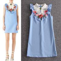 Wholesale sexy D brand fashion women s one piece dress brand designer dress sleeveless Dresses ruffles luxury runway dress blue