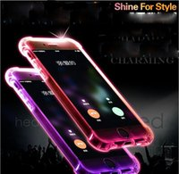 For Samsung Silicone Green Cheap TPU+PC LED Flash Light Up Case Remind Incoming Call Cover for iPhone 7 SE 6 6S Plus Samsung S7 S6 Edge Note 5 Clear Transparent Skin