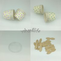 Wholesale Cool Round polka dot paper cupcake case ice cream cup candy cup containers with Lids no Spoon