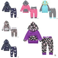 babies brands hoodies - Ins Baby Clothes Boys Girls Striped Hoodies Sets Floral Top Pant Outfits Toddler Kids Clothing Set Styles