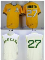 baseball hunter - Oakland Athletics Flexbase Catfish Hunter Jersey Retro Pullover Yellow Catfish Hunter Baseball Jerseys Throwback Cool Base Stitched Logo