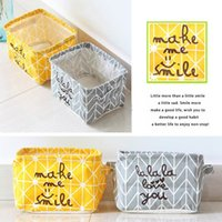 Wholesale Nordic Style Brief Linen Desk Storage Box Holder Jewelry Cosmetic Stationery Organizer Case Cute Letter Printed Storage Holders