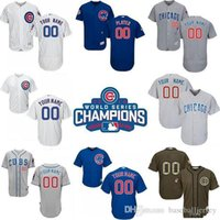 Wholesale 2017 Cheap Newest World Series Champions Patch Men s Custom Chicago Cubs White Grey and Blue Baseball Jerseys for price Mix O