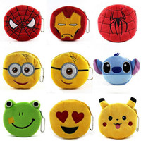 Wholesale new arrive mixed designs QQ expression minion spiderman Iron man Coin Purses cute emoji coin bag plush pendant smile wallet JF