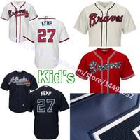 baseball transfers - 2017 New transfer Youth Mens Matt Kemp Jersey Youths Atlanta Braves Matt Kemp Kids Jersey Stitched Embroidery Boys Baseball Jerseys S XL