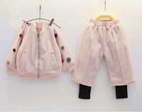 ball pants - Korean Style Winter Kids Warm Outfits Thicken Long Sleeve With Solid Balls Stitch Girls Baseball Uniform Layered Pants Set Q0454