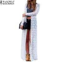 Wholesale 6 Color Blusas Women Outwear Lace Crochet Long Sleeve Beach Kimono Cardigan Casual Loose Long Blouses Tops Plus Size Shirts