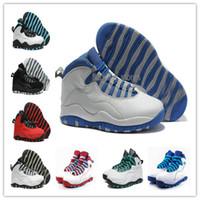 Con la caja los zapatos de baloncesto para hombre retros 10 zapatos de baloncesto del blanco de los zapatos de baloncesto de OVO negros rojos de X salta el envío libre US8-13 de la alta calidad de los zapatos de Atheletic del hombre