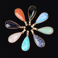 Precio de Cuarzo agua-Piedra natural de la piedra de la curación del cuarzo gota ovalada del amor de la gota del agua AAA Encanto multicolor hermosa del cristal metafísico con el oro plateado envuelto