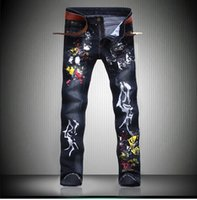 american printing ink - Brand Designer Mens Printed Jeans Pants Fashion Painted Denim Joggers For Male Slim Fit Straight Jean Trousers Ink Splash
