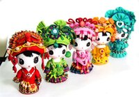 3-4 Years art rag - of guizhou yunnan ethnic arts and crafts Ethnic minorities doll by hand Wooden cartoon dolls small