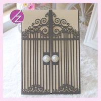 Wholesale Hot sale good quality pearl paper Crafts Paperboard Printing for invitation handmad card unique door design QJ