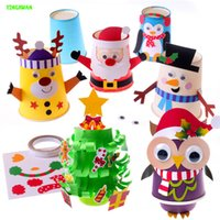 Wholesale 4pcs DIY New Christmas Cup Manual Material Package Paste Handmade Snowman For Children Education
