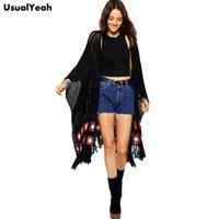 Grossiste - 2015 Femmes Mode Tricoté Cardigan Automne Hiver Crocheted Hollow Out Pull Tassel Long Batwing manchon Poncho Kimono Noir