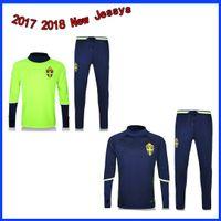 17 - 18 Tailandés de alta calidad azul sueco chaqueta paquete de formación verde kit, camisa verde, 2017, Ibrahimovic, ropa de entrenamiento Jersey f mayor