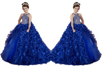 ball gown for kids - Luxury Removable Two Pieces Little Girls Pageant Dresses Ruffled Crystal Beads Princess Royal Blue Dance Ball Gowns Kids Party For Wedding