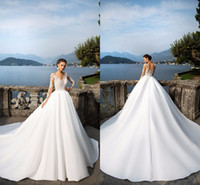 Wholesale 2017 Milla Nova Sheer Long Sleeve Wedding Dresses Jewel Neck Buttons Back Lace Appliques Satin Ball Gown Bridal Gowns Beach Wedding Gowns