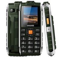 Original Uhans V5 étanche à l'épreuve des chocs de téléphone banque de puissance Dual sim GSM cellulaire 2500Mah grande boîte de haut-parleur FM conduit lampe de poche téléphone mobile