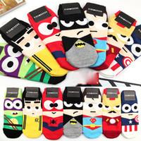 Wholesale Cartoon Ankle Socks Avengers Super Hero Sock Men Women Short Socks for Sport Kids Children Baby Cotton Socks
