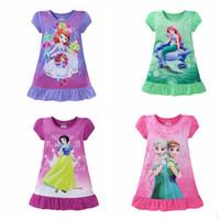 Wholesale Kids Girl pajamas Skirt Nightwear Frozen Princess Party Sleepwear Pajama Outfit Night Skirt Dresses Mermaid Nightwear design KKA391