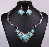 achat en gros de boucles d'oreilles dangle de quartz-Ensemble de bijoux en argent sterling antique Ensemble de bijoux en argent turquoise en argent sterling