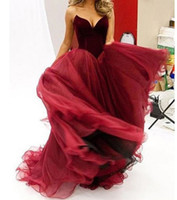 Wholesale Sexy Backless Outfit - 2016 burgundy prom dresses sweetheart neckline velvet top tulle skirts evening dresses pageant gowns party dresses bridal outfits