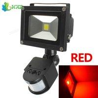 Venta al por mayor impermeable IP65 LED inundación 20W PIR infrarrojo cuerpo sensor de movimiento AC 85-265V exterior jardín inflable reflector lámpara roja