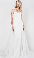 Precio de Líneas blancas-Satén blanco una línea vestidos de boda 2017 vestidos de boda sin tirantes sin tirantes nupciales sin tirantes del chaple del amor del kapociute del aida