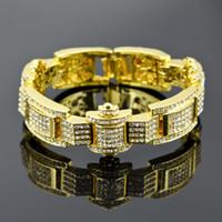 achat en gros de pulseras hip hop-Haut Qualtiy Hip Hop Hommes Bling Iced Out Simuler Diamant Bracelet Hommes Tennis Bangle AAA Cubes Zirconia Rhinestone Pulseras Hombre Bracelets