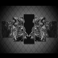 Черные отпечатки искусства Цены-5 шт / комплект подставил HD Печатный Черный Белый лев Картина стены искусства Холст комнаты декор Плакат Холст Абстрактная живопись маслом