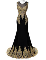 Wholesale Blue Red White Black Mermaid Prom Dresses Grace Karin Luxury Gold Appliques Floor Length Party Dress Formal Gowns Prom Dresses