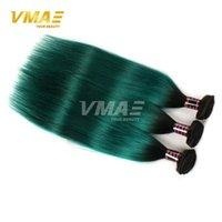 12 pouces cheveux humains deux tons France-Brazilian Ombre Straight Hair Two Tone Couleur 1b vert Cheveux humains Vierges 8-30 pouces Extensions de cheveux humains Livraison gratuite