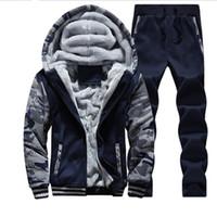 Wholesale winter men sweat suits fleece warm mens tracksuit set casual jogging suits sports suits cool jacket pants and sweatshirt set
