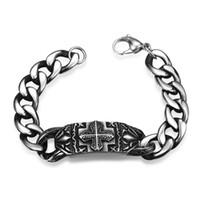 Wholesale 2016 New Cool Punk Bracelet for Man L Stainless Steel Bracelet ID Carve Cross Hip Hop Bracelet Street Rock Chain Charms Men s Fashion
