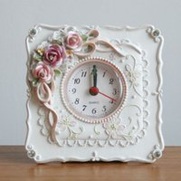 Wholesale Retro Style Rose Flower Home Decor Table Clock Resin Battery Electronic SZ207