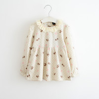 Wholesale Spring Girls Floral Collar Dress Cute Casual Dresses Full Sleeve Autumn Dresses For Year