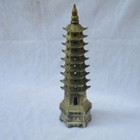 ancient chinese statues - Collection of Chinese Bronze sculpture carved pyramid model ancient Pagoda statues feng shui tower